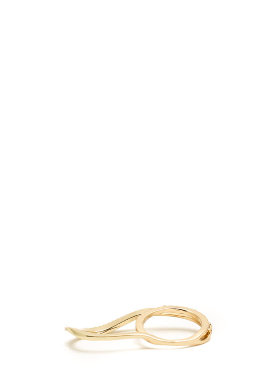 Rhinestone Embellished Double Ring GOLD