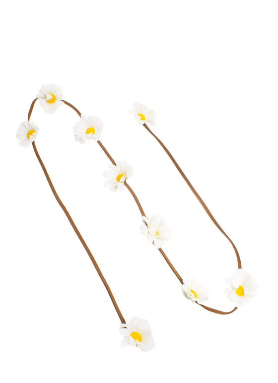 Daisy Daze Faux Suede Headband WHITEBROWN