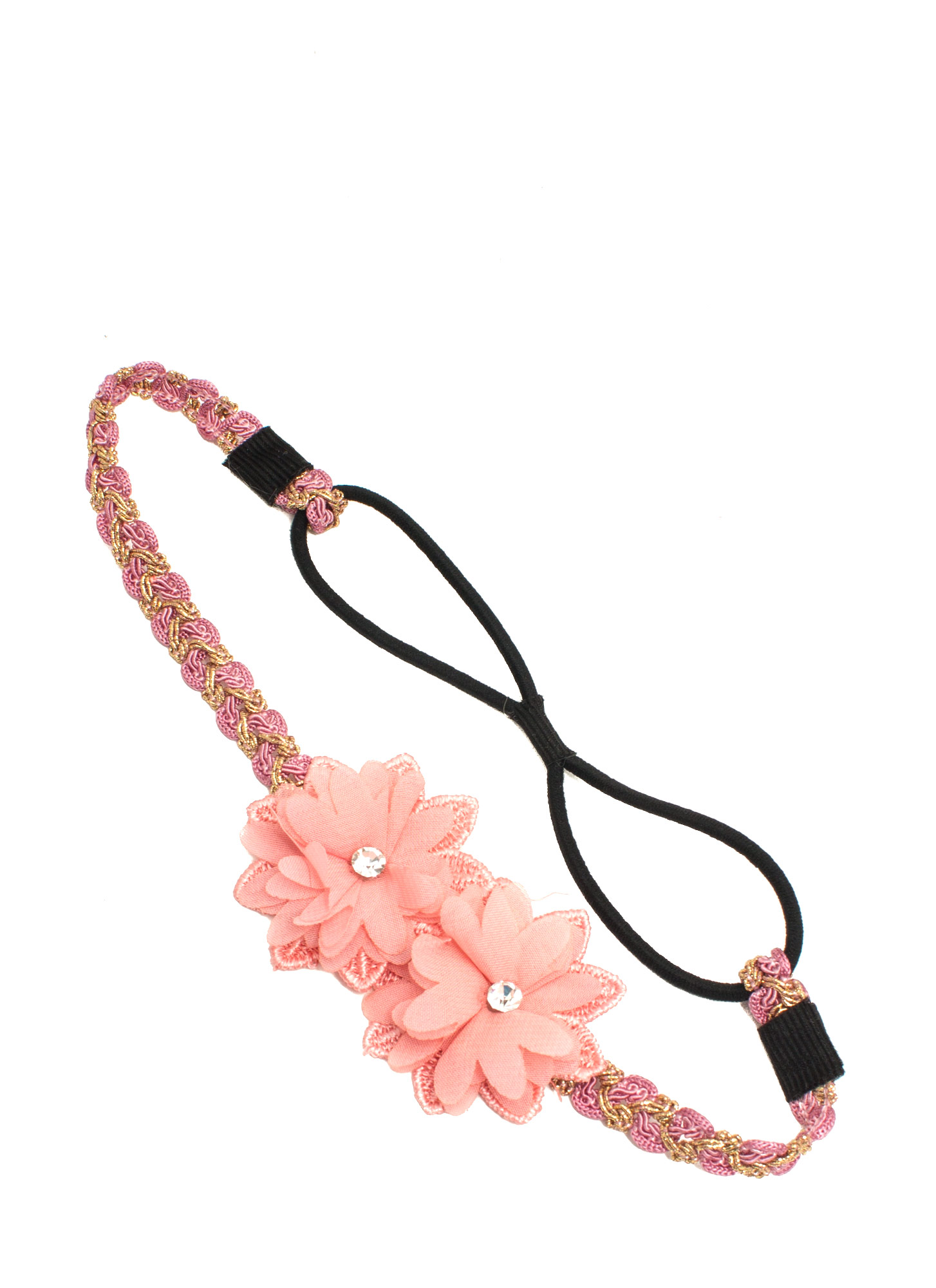 Double Flower Accent Headband PINK