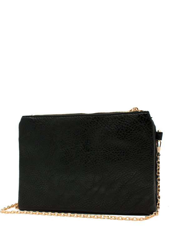 Triple Compartment Crossbody Bag BLACK