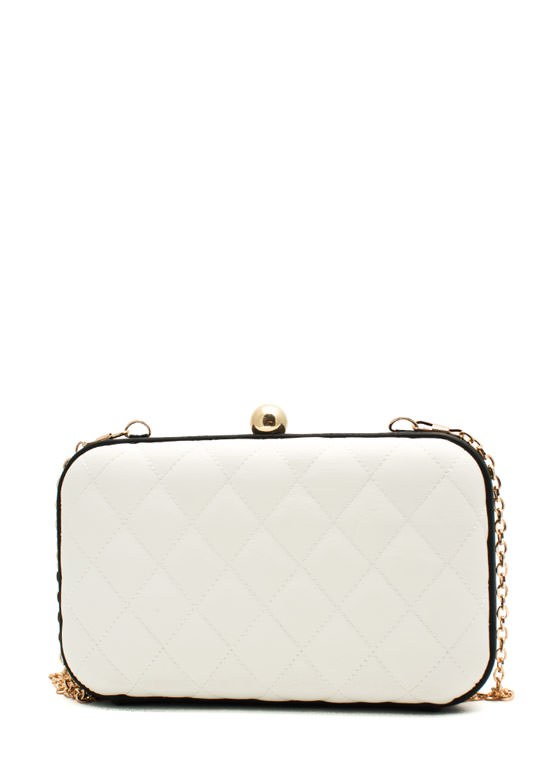 Monochromatic Quilted Clutch WHITEBLACK