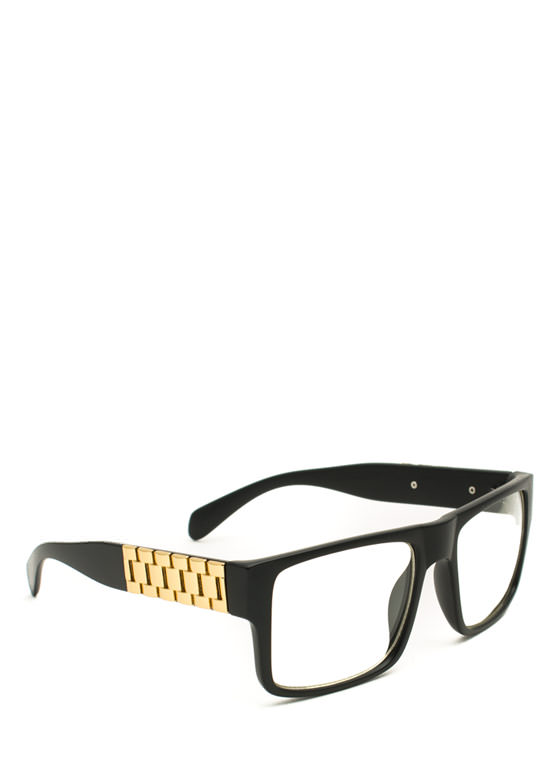 Square Link Glasses MBLACKGOLD