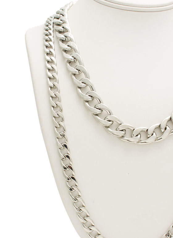 Duo Chain Necklace Set SILVER