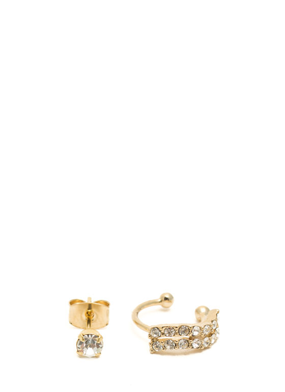 Wavy Jeweled Ear Cuff Set GOLD