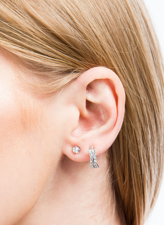 Wavy Jeweled Ear Cuff Set SILVER
