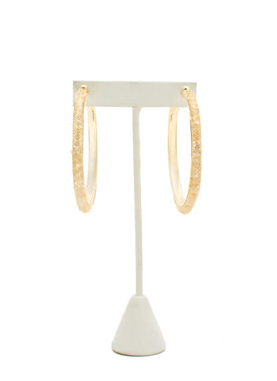 Netted Faux Jewel Hoop Earrings GOLD