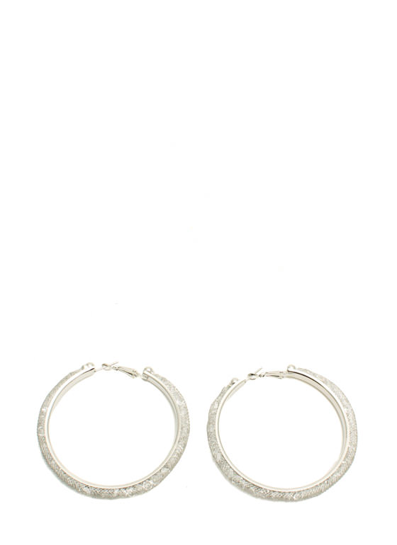 Netted Faux Jewel Hoop Earrings SILVER