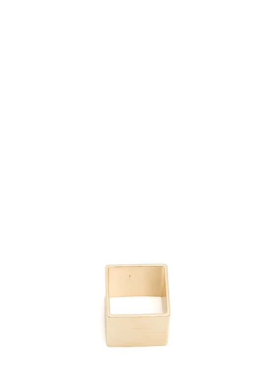 Square Brushed Metal Ring GOLD