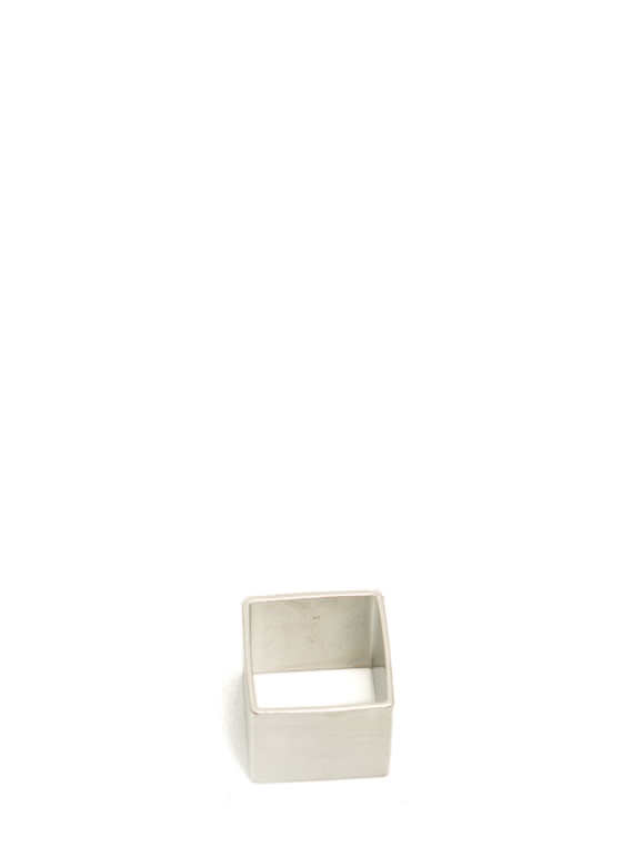 Square Brushed Metal Ring SILVER