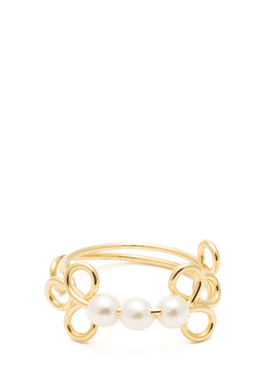 Adjustable Swirly Faux Pearl Ring GOLDIVORY
