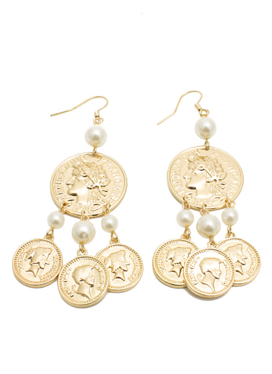 Coin 'N Pearl Earrings GOLDIVORY