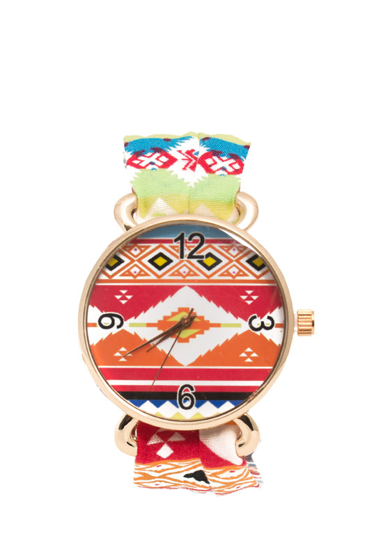 Tribal Print Wraparound Watch RGOLDMULTI