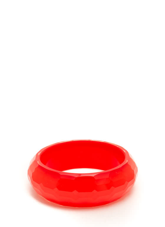 Shiny Multi-Faceted Chunky Bracelet RED
