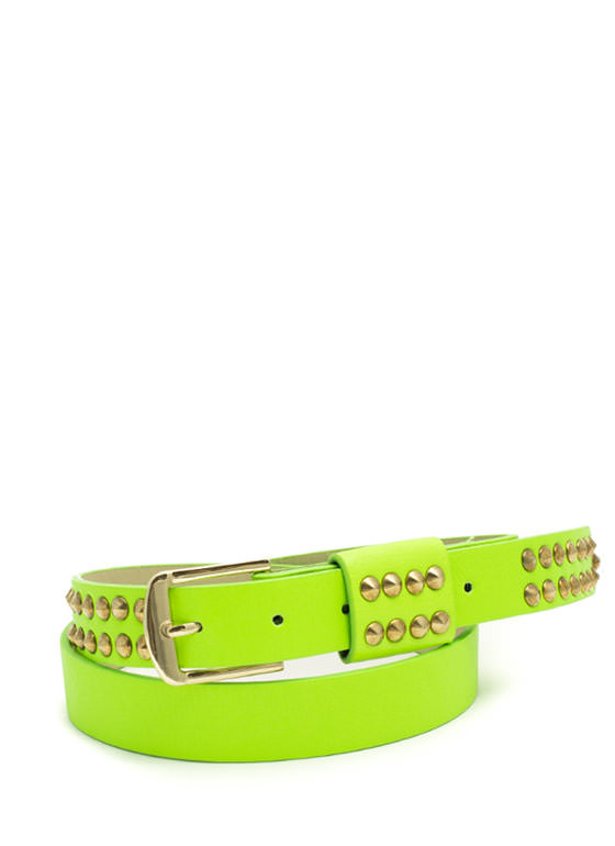 Rocker Studded Faux Leather Belt NEONGREEN