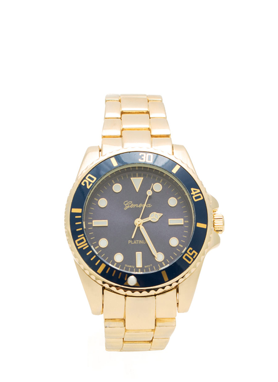 Brushed Metallic Boyfriend Watch GOLDNAVY