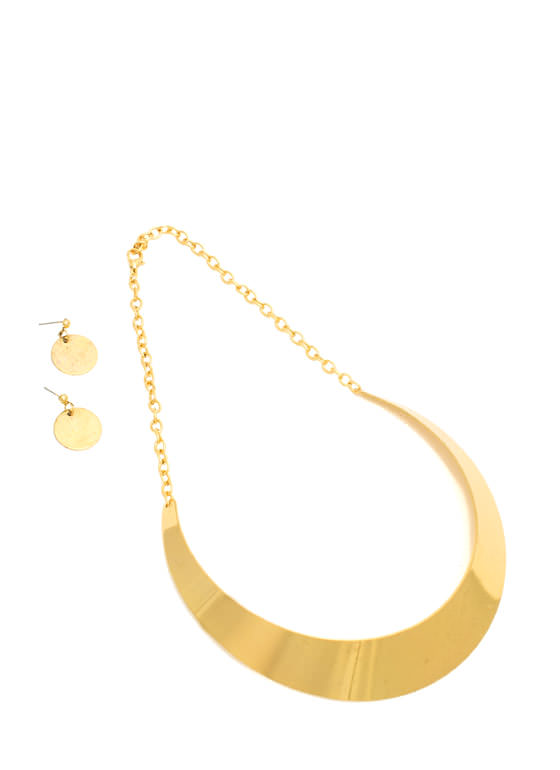 Shiny Metal Collar Necklace Set GOLD