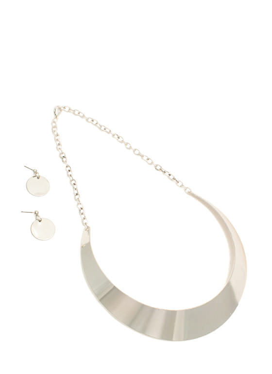Shiny Metal Collar Necklace Set SILVER