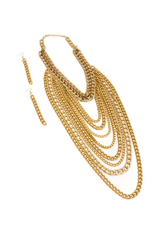 Matte Chain Waterfall Necklace Set GOLD