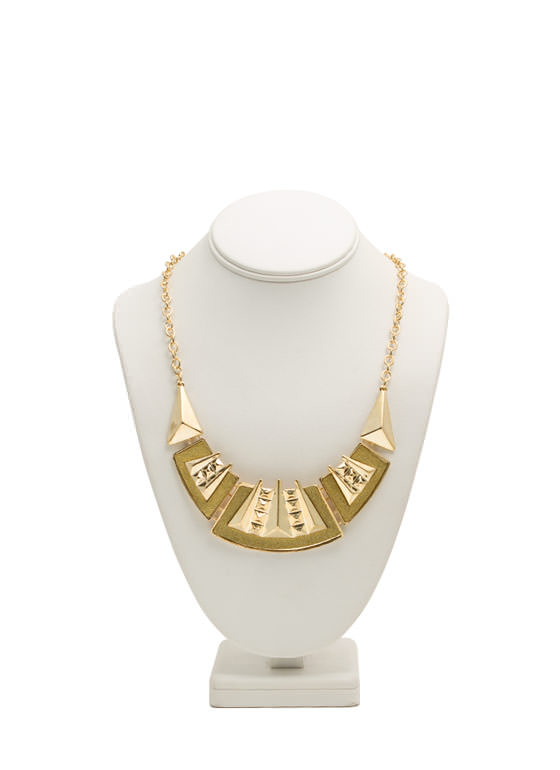 Glittery Hinged Tribal Bib Necklace GOLD
