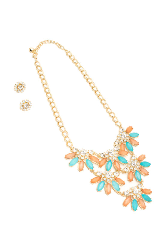 Jeweled Daisies Necklace Set MULTI