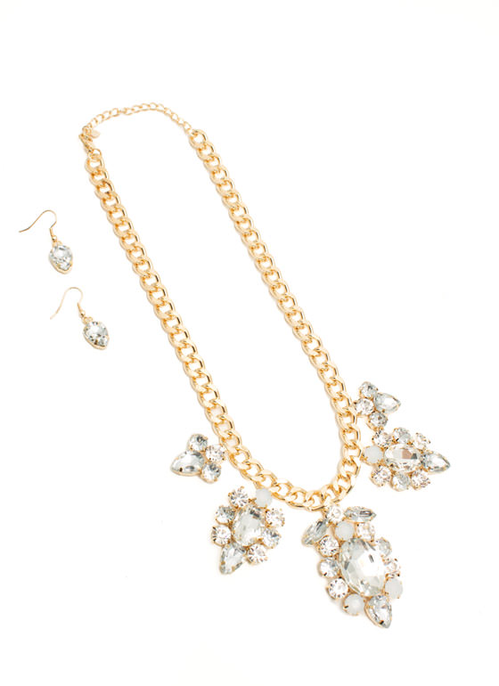 Extra Sparkly Faux Jewel Necklace Set CLEARGOLD