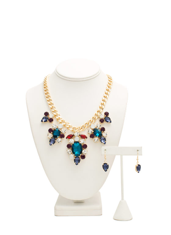 Extra Sparkly Faux Jewel Necklace Set MULTIGOLD