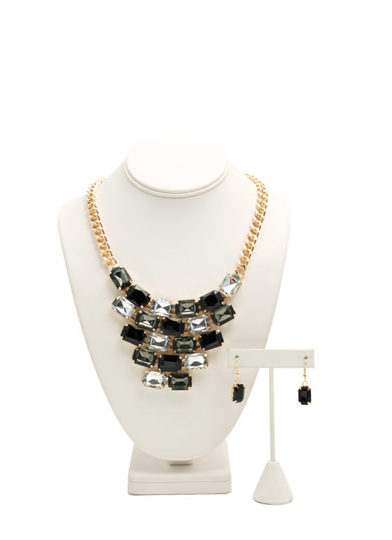 Tiled Faux Gem Bib Necklace Set BLACKCLEAR