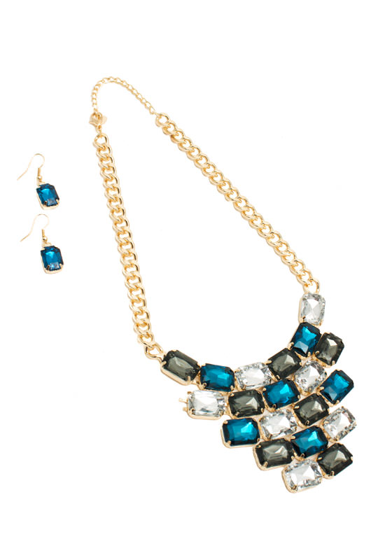 Tiled Faux Gem Bib Necklace Set BLUEMULTI