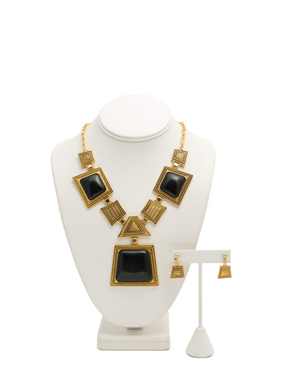 Trapezoid Faux Stone Necklace Set BLACKGOLD