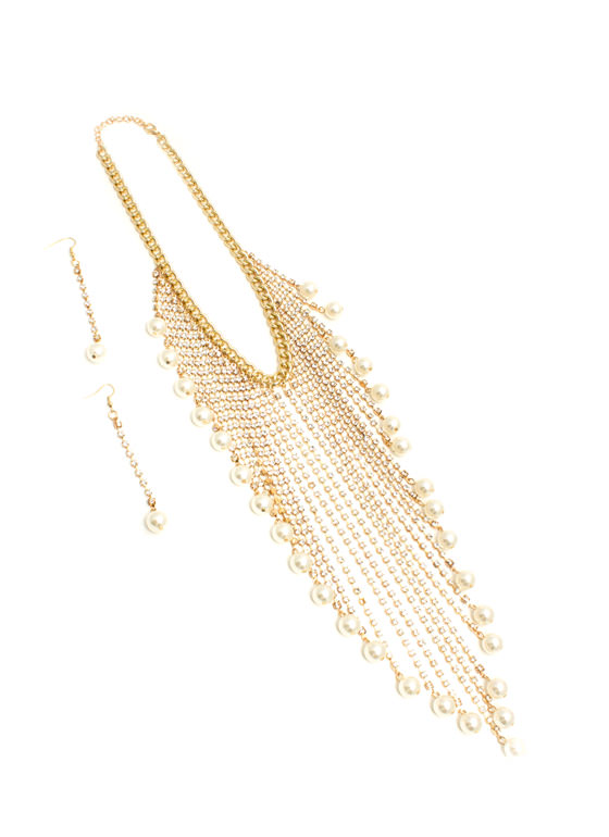 Jeweled Fringe Pearled Necklace Set GOLDIVORY