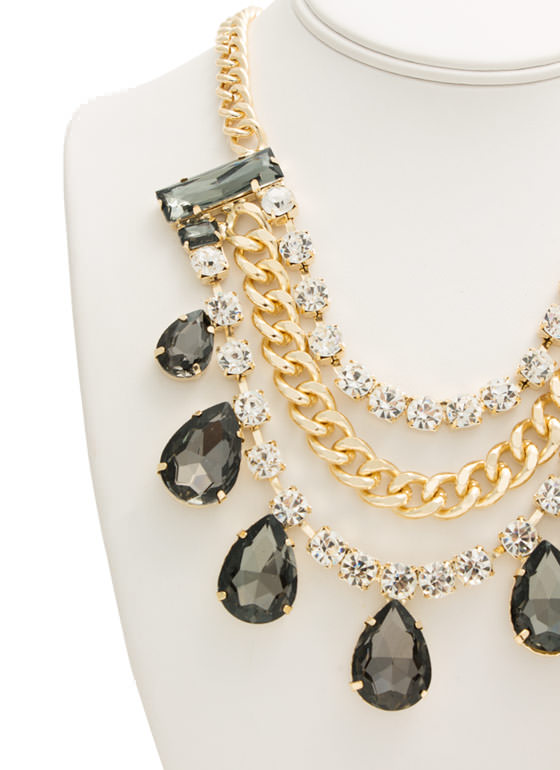 Faux Jewel Chain Bib Necklace Set GREYGOLD