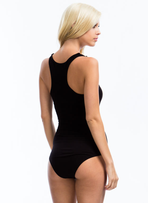 Ladder Rinse Repeat Strappy Bodysuit BLACK