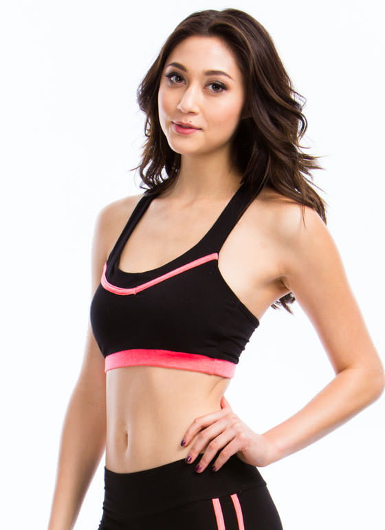 Piped Dream Contrast Bra Top NEONCORAL