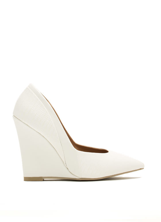 Reppin' Reptile Pointy Scaled Wedges OFFWHITE