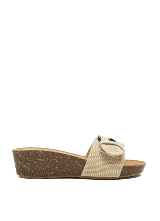 Canvas Low Mini Wedge Sandals NATURAL