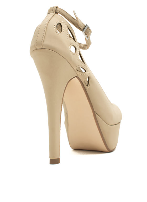 Cut-Out For This Ankle Strap Heels NUDE