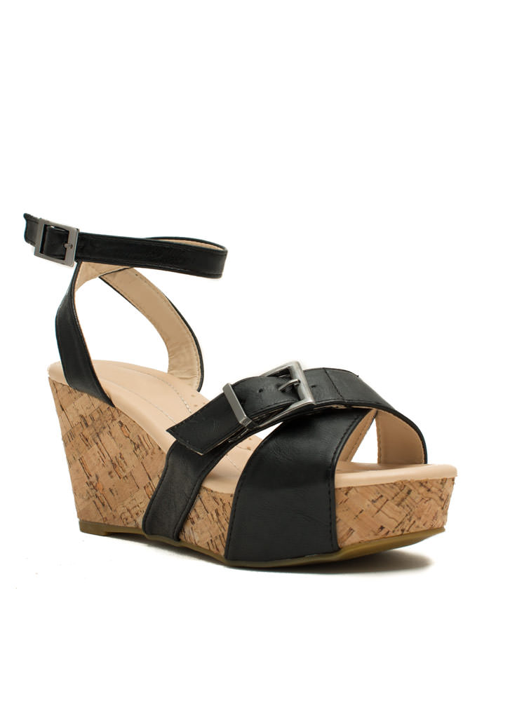 X Marks The Buckled Faux Cork Wedges BLACK