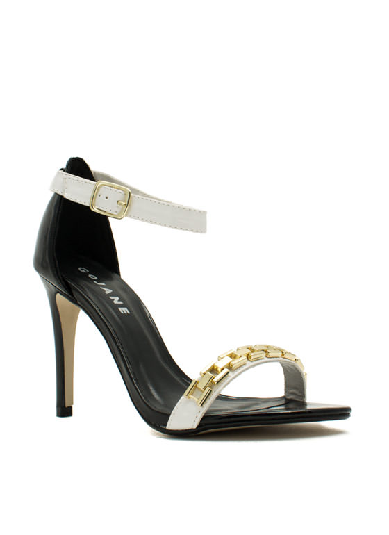 Single For A Chain-ge Platform Heels BLACKWHITE