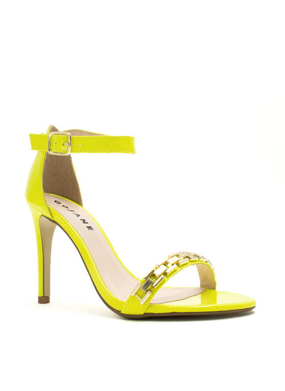 Single For A Chain-ge Platform Heels NEONYELLOW
