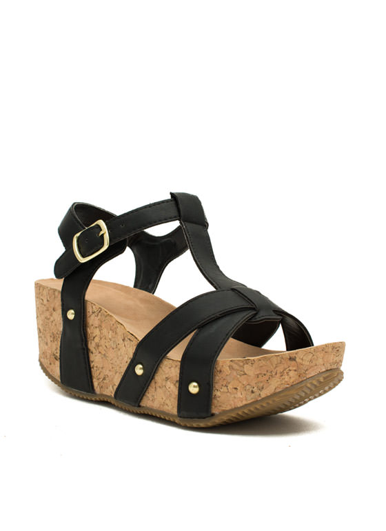 Strap Out Of It Faux Cork Wedges BLACK