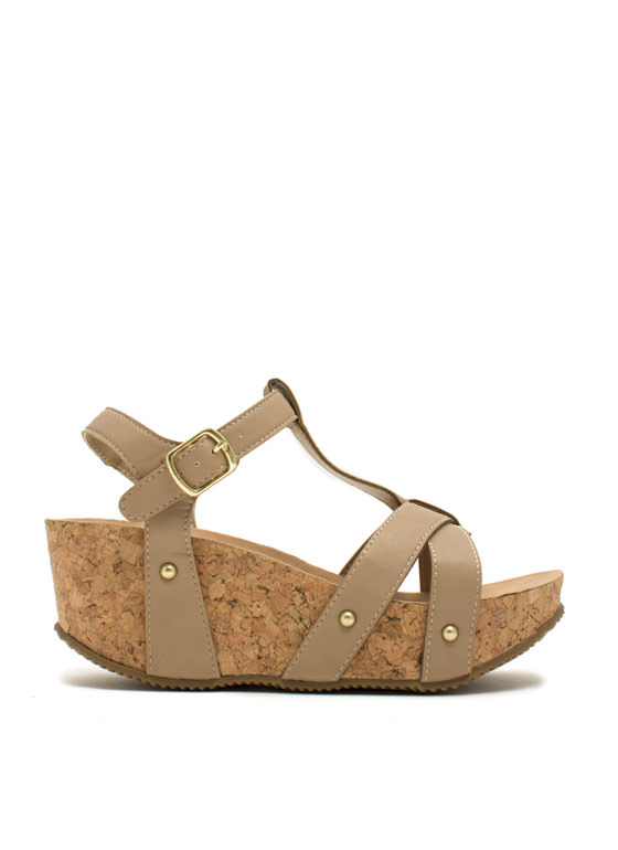 Strap Out Of It Faux Cork Wedges NUDE