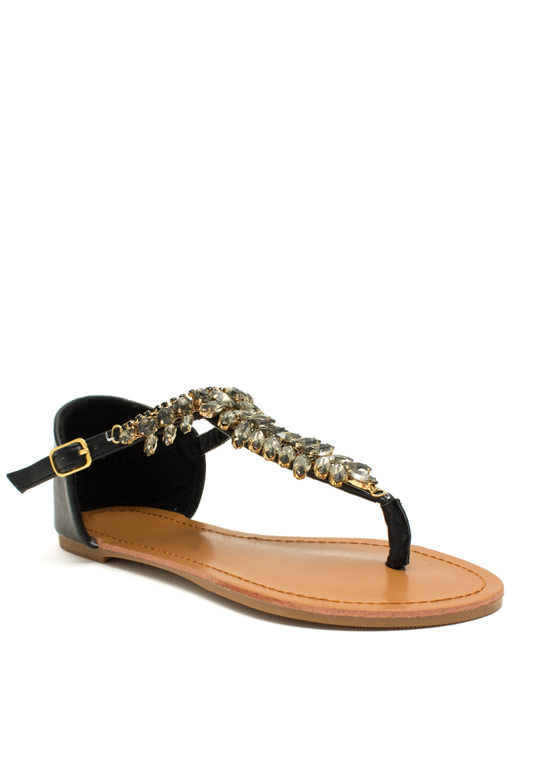 Almond Or Nothing Jeweled Sandals BLACK