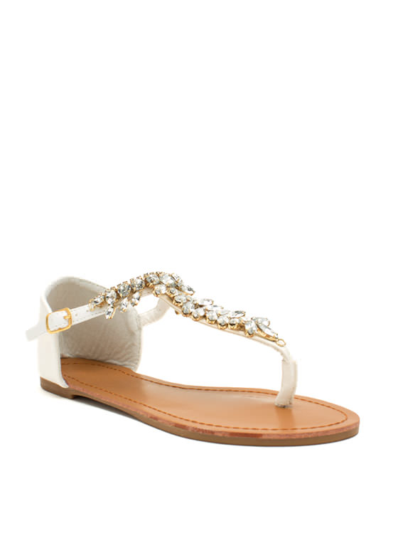 Almond Or Nothing Jeweled Sandals WHITE