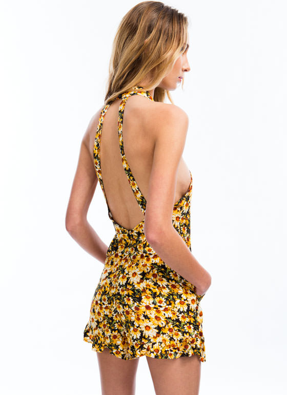 Sunflower Fields Printed Romper YELLOW