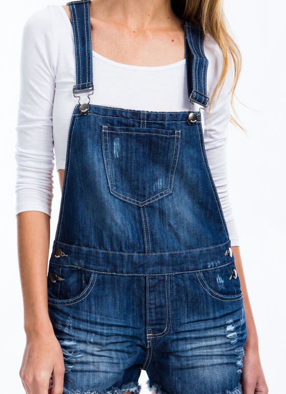 Get Destructive Denim Shortalls BLUE