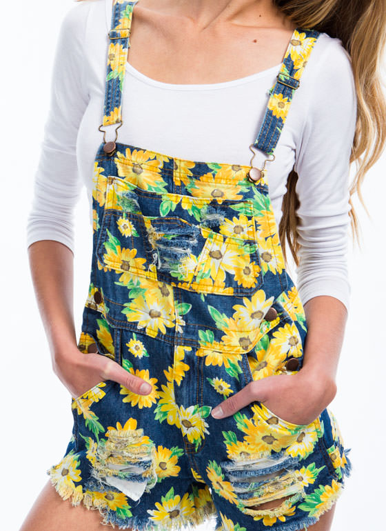 Doll Up In Daisies Denim Shortalls BLUE