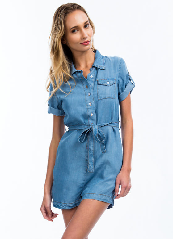 Collared Chambray Romper LTBLUE