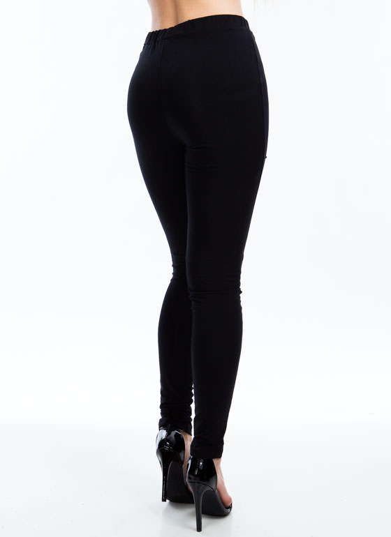 Shredded Slivered Leggings BLACK