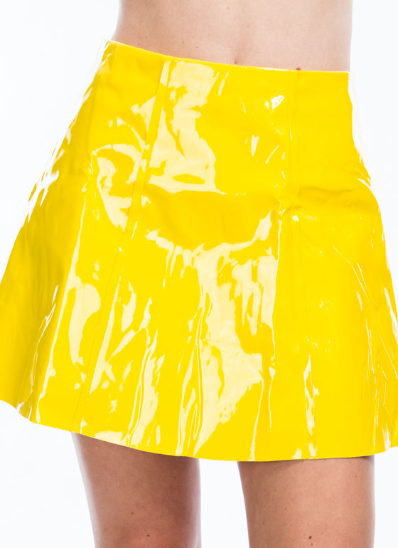 As If High Shine Skater Skirt YELLOW