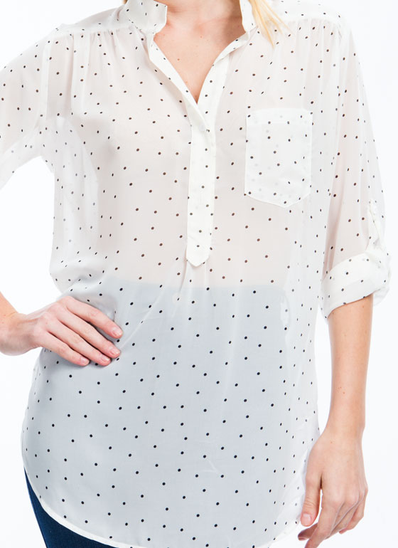 Read My Polka Face Dotted Blouse IVORY